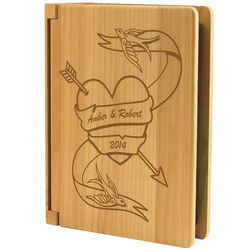 Love Birds Tattoo Heart Wood Photo Album