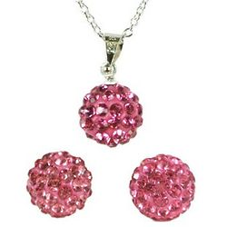Pink Swarovski Elements Crystal Disco Ball Necklace and Earrings