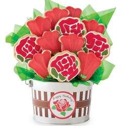 Happy Birthday Rose Cookie Flower Pot