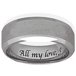 Personalized Men's Cobalt Satin Beveled Engraved Band