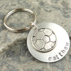 My Soccer Star Personalized Hand Stamped Keychain