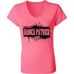 Danica Patrick #10 Ladies Hot Pink V-Neck Tee