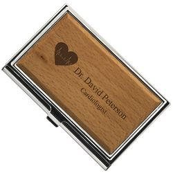 Cardiologist Personalized Wooden Business Card Holder