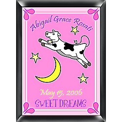 Personalized Girl's Cow Jumping Over the Moon Sign