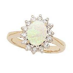 Morning Glory Oval Opal & Diamond Ring