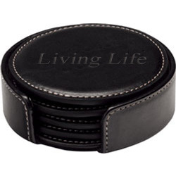 Round Leather Coaster Set