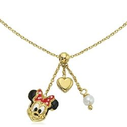 14k Gold Minnie Mouse Necklace with Pearl and Heart Dangles