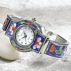 Chinese Cloisonné Garden Watch Bracelet