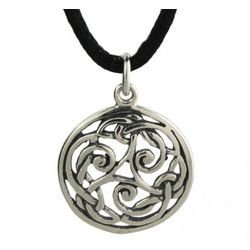Sterling Silver Round Celtic Weave Pendant