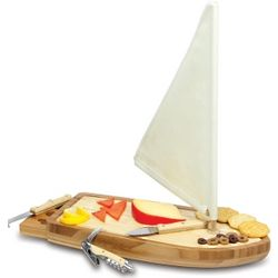 Sailboat Bamboo Cheese Board with Tools
