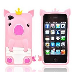 Pink Royal Piglet Apple iPhone Soft Gel Skin Case