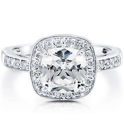Cushion Cut Cubic Zirconia Sterling Silver Halo Ring