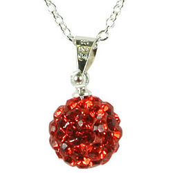 Swarovski Elements Red Crystal Disco Ball Necklace