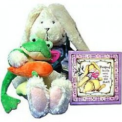 Rabbit and Frog Plush Stuffed Animals with Peapod Story Book