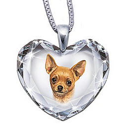 Chihuahua Portrait Crystal Heart Pendant Necklace