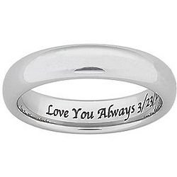 Personalized Tungsten Polished Wedding Band
