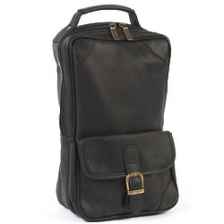 Black Cowhide Leather Golf Shoe Bag