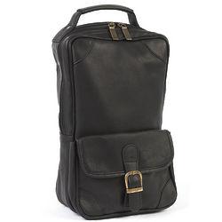 Black Cowhide Leather Golf Shoe Bag