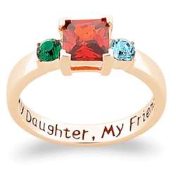 Gold-Plated My Daughter, My Friend Birthstone Ring