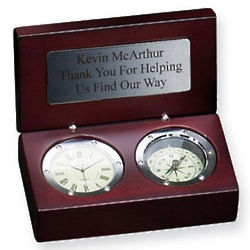 Personalized Captain's Clock and Compass Combo