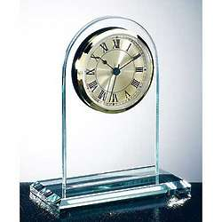 Jade Glass Gold Roman Arch Clock