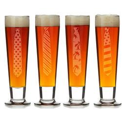 Necktie Motif Beer Glasses
