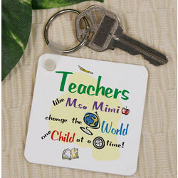 Personalized Teachers Change the World Key Chain