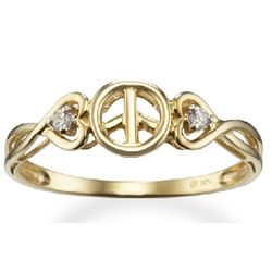 14k Yellow Gold Peace Sign Promise Ring with Diamond Hearts