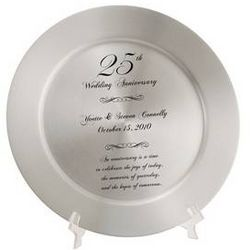 Personalized 25th Anniversary Solid Aluminum Keepsake Plate