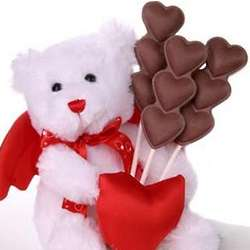 Valentine's Day Teddy Bear with Chocolate Heart Pops
