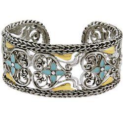 Braided Edge Vintage Heart Cuff Bracelet
