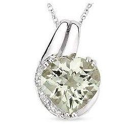 Green Amethyst and Diamond 14K White Gold Pendant