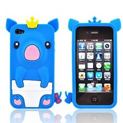 Blue Royal Piglet Apple iPhone Soft Gel Skin Case