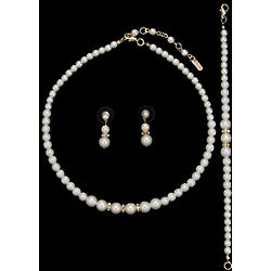 3 Piece Faux Pearl Bridal Jewelry Set
