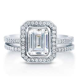 Emerald Cut Cubic Zirconia Sterling Silver Halo Bridal Ring Set