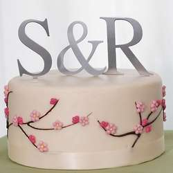 Silver Monogram Cake Topper