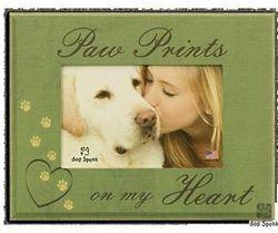 Pawprints on my Heart Dog Sympathy Frame