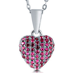 Ruby Cubic Zirconia Sterling Silver Puffed Heart Pendant
