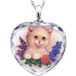 Darling Kitten Heart-Shaped Crystal Pendant Necklace
