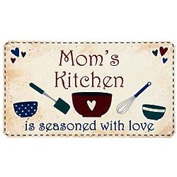 Seasoned with Love Personalized Country Kitchen Metal Sign