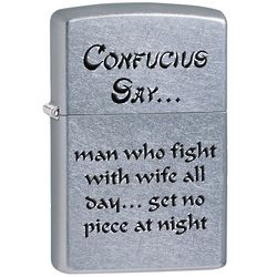 Confucius Say Street Chrome Zippo Lighter