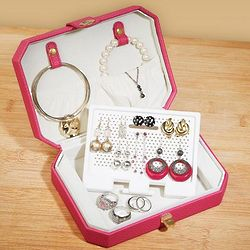 Raspberry Travel Jewelry Organizer Case