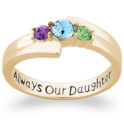 Gold-Plated Always Our Daughter Birthstone Ring
