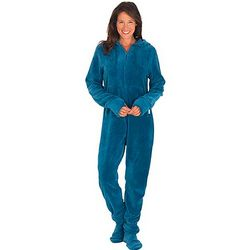 Blue Hoodie-Footie Pajamas for Women