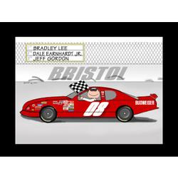 Personalized Stock Car Driver Cartoon
