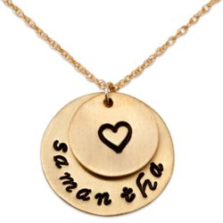 Hand Stamped Name and Heart Double Disc Pendant