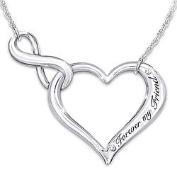 Forever My Friend Sterling Silver Necklace with Swarovski Crystal