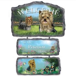 Lovable Yorkies Personalized 3-Plaque Welcome Sign