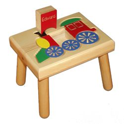 Train Puzzle Stool with Personalized Name