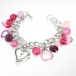 Murano Glass Heart Charm Bracelet Watch
